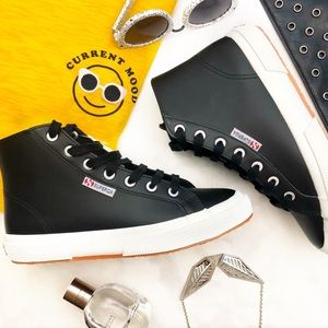 Superga Black Leather High Top Sneakers